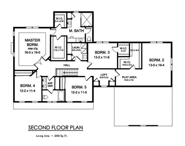 Farmhouse Floor Plan - Upper Floor Plan #1010-248