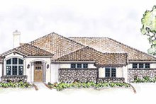 House Plan Design - Mediterranean Exterior - Front Elevation Plan #410-3567