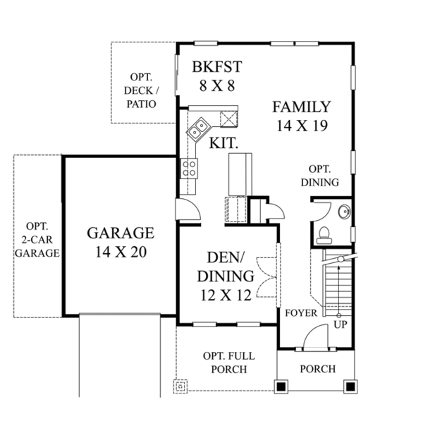 Colonial Floor Plan - Main Floor Plan Plan #1053-46