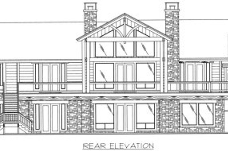 Bungalow Exterior - Rear Elevation Plan #117-386 - Houseplans.com