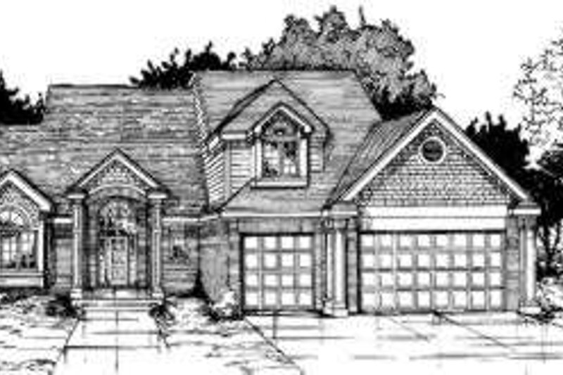 Traditional Style House Plan - 4 Beds 3.5 Baths 2797 Sq/Ft Plan #334-106 Exterior - Front Elevation