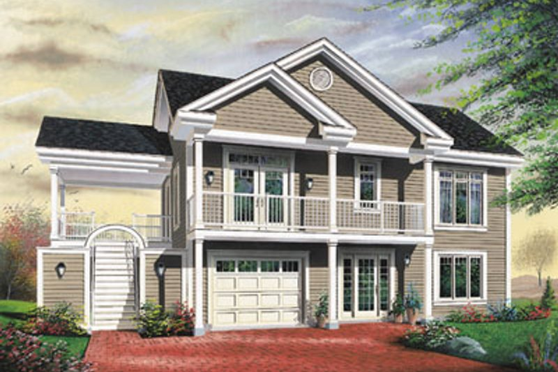 Traditional Style House Plan - 3 Beds 1 Baths 2307 Sq/Ft Plan #23-2167 Exterior - Front Elevation