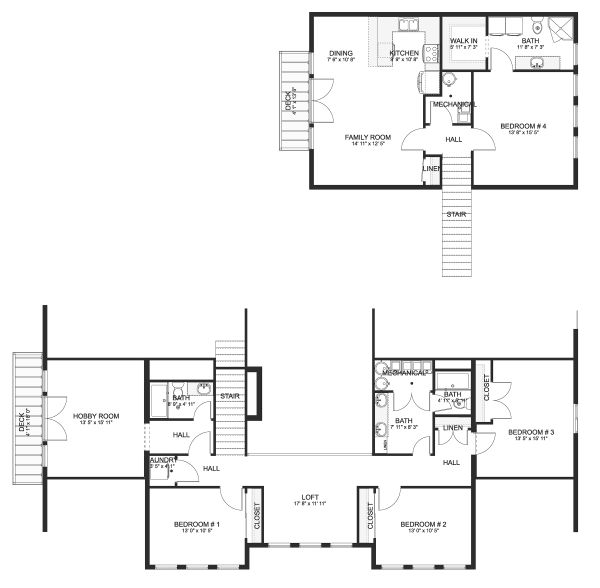 Farmhouse Floor Plan - Upper Floor Plan Plan #1060-48