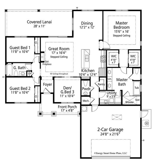 Craftsman Floor Plan - Main Floor Plan Plan #938-94