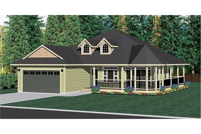 Craftsman Style House Plan - 3 Beds 2 Baths 1597 Sq/Ft Plan #126-221 Exterior - Front Elevation