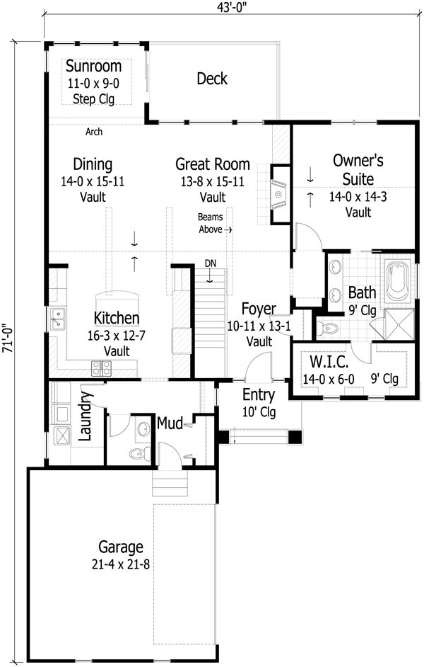 Country Floor Plan - Main Floor Plan Plan #51-431