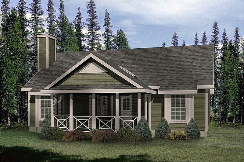 Cottage Style House Plan - 2 Beds 1 Baths 924 Sq/Ft Plan #22-119 Exterior - Front Elevation