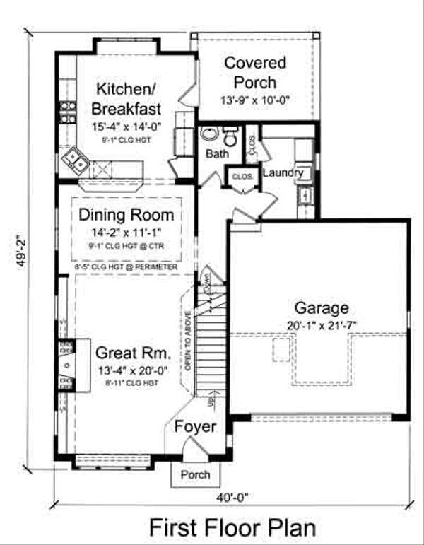 Colonial Floor Plan - Main Floor Plan Plan #46-482