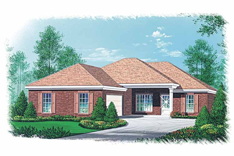 Ranch Exterior - Front Elevation Plan #15-350