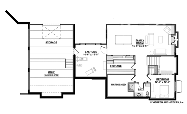 Contemporary Floor Plan - Lower Floor Plan Plan #928-273