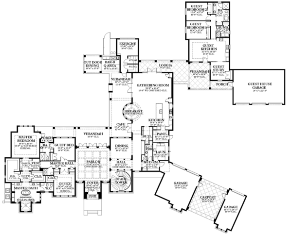 Mediterranean Floor Plan - Main Floor Plan Plan #1058-151