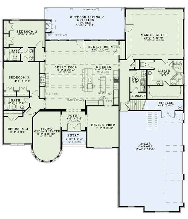 European Floor Plan - Main Floor Plan Plan #17-3386
