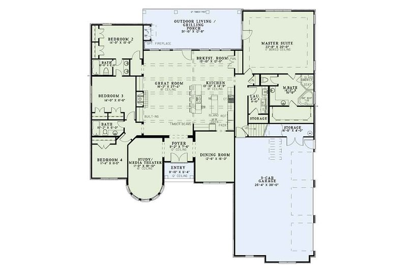 European Floor Plan - Main Floor Plan Plan #17-3386