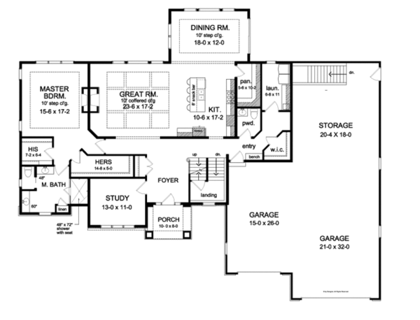 Traditional Floor Plan - Main Floor Plan Plan #1010-97