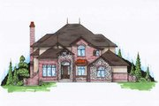 European Style House Plan - 6 Beds 5.5 Baths 3628 Sq/Ft Plan #5-402 Exterior - Front Elevation