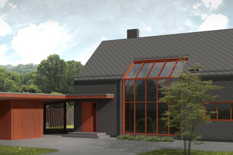 Contemporary Style House Plan - 3 Beds 2 Baths 1500 Sq/Ft Plan #906-4 Exterior - Front Elevation