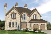 European Style House Plan - 4 Beds 2.5 Baths 3287 Sq/Ft Plan #138-333 Exterior - Front Elevation