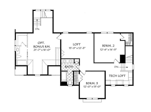 Traditional Floor Plan - Upper Floor Plan Plan #927-957