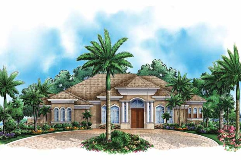 Mediterranean Exterior - Front Elevation Plan #1017-144