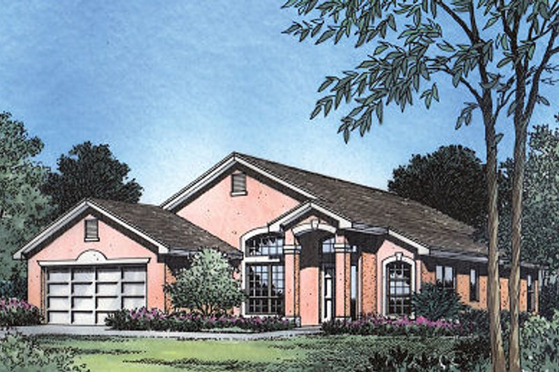 Mediterranean Style House Plan - 3 Beds 2 Baths 1590 Sq/Ft Plan #417-124 Exterior - Front Elevation