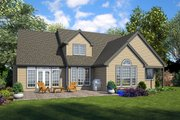 European Style House Plan - 4 Beds 3.5 Baths 2884 Sq/Ft Plan #48-931 Exterior - Rear Elevation