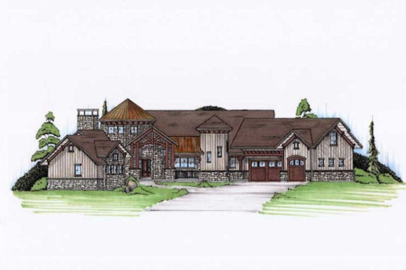Country Style House Plan - 4 Beds 3.5 Baths 4109 Sq/Ft Plan #5-417 Exterior - Front Elevation