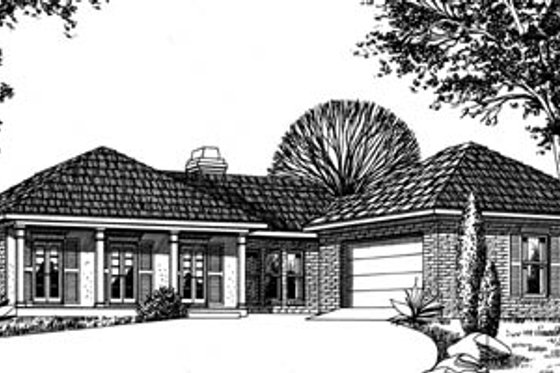 European Exterior - Front Elevation Plan #15-112