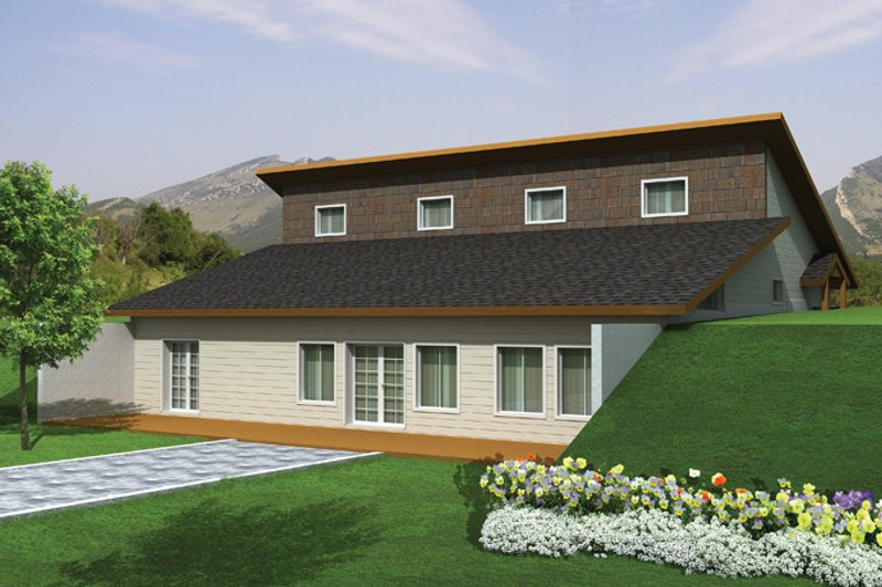 Architectural House Design - Contemporary Exterior - Rear Elevation Plan #117-863