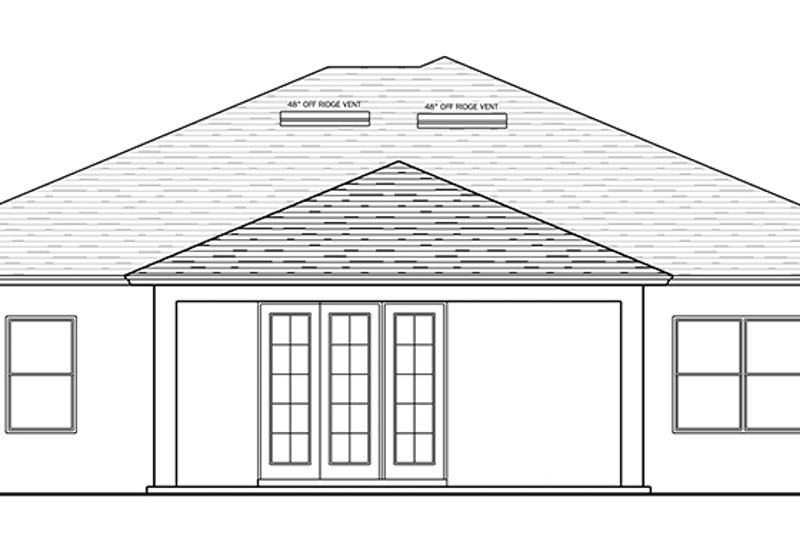 Traditional Exterior - Rear Elevation Plan #1058-117 - Houseplans.com