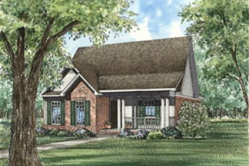 Traditional Style House Plan - 3 Beds 2 Baths 1490 Sq/Ft Plan #17-126 Exterior - Front Elevation