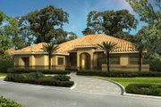 Mediterranean Style House Plan - 4 Beds 3.5 Baths 3224 Sq/Ft Plan #420-277 Exterior - Front Elevation