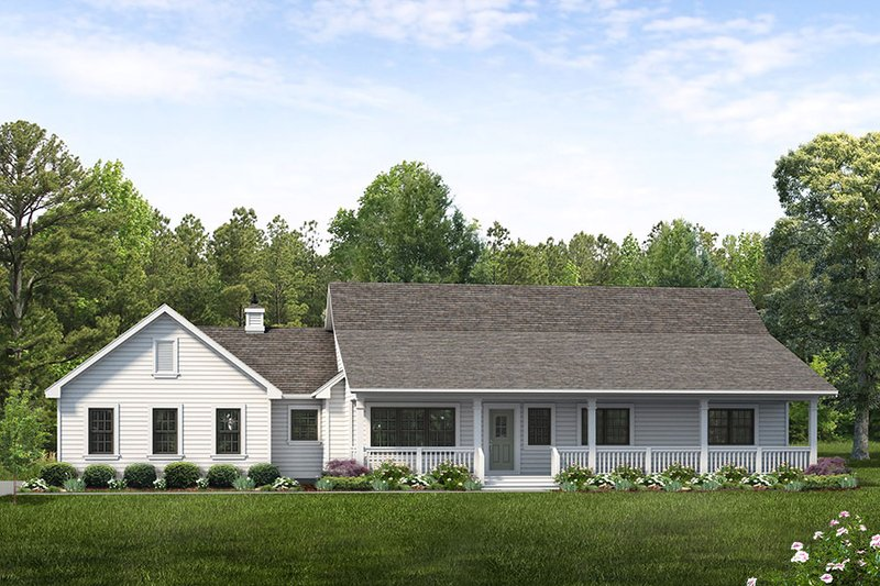 Ranch Style House Plan - 3 Beds 2 Baths 1652 Sq/Ft Plan #47-1023 Exterior - Front Elevation
