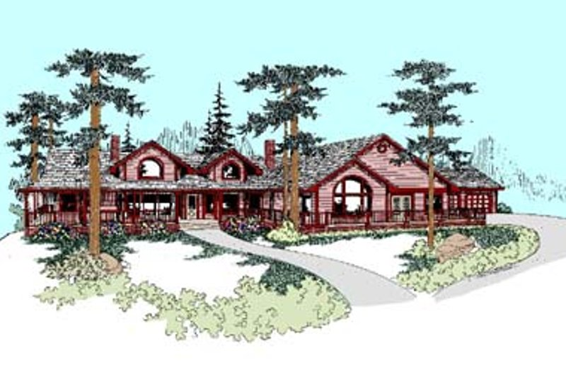 Craftsman Style House Plan - 4 Beds 3 Baths 3479 Sq/Ft Plan #60-436 Exterior - Front Elevation