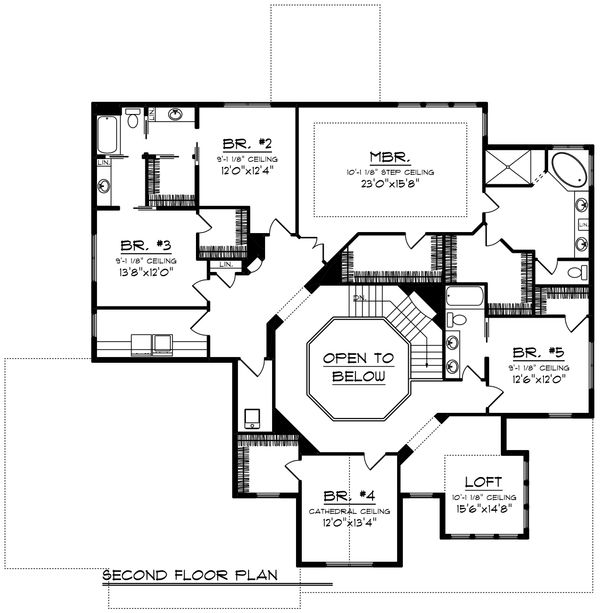 Craftsman Floor Plan - Upper Floor Plan Plan #70-1255