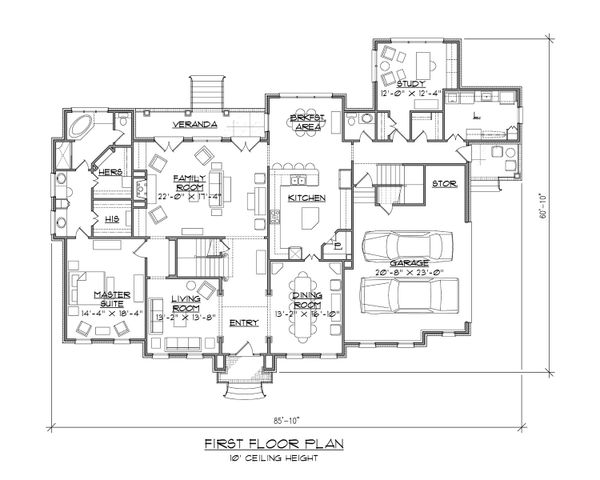 Classical Floor Plan - Main Floor Plan Plan #1054-63