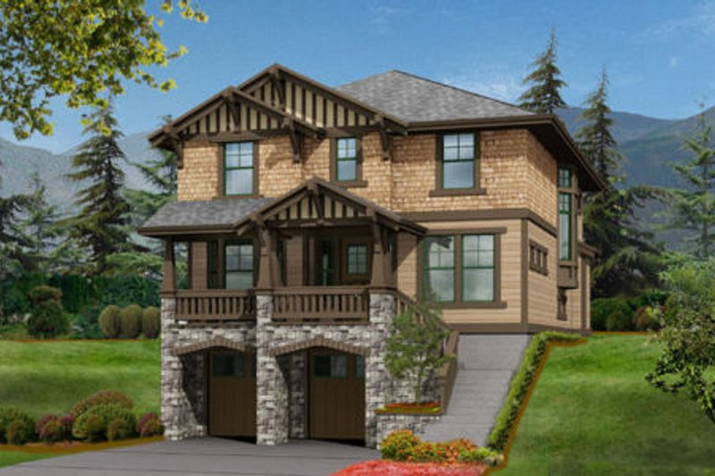 Craftsman Style House Plan - 3 Beds 2.5 Baths 2753 Sq/Ft Plan #132-124 Exterior - Front Elevation