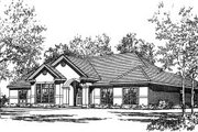 Mediterranean Style House Plan - 4 Beds 2 Baths 2123 Sq/Ft Plan #37-177 Exterior - Front Elevation