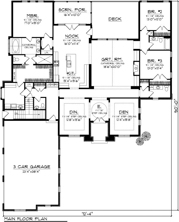 Ranch Floor Plan - Main Floor Plan Plan #70-1126