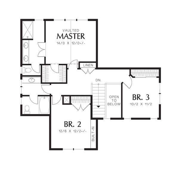 Craftsman Floor Plan - Upper Floor Plan Plan #48-523