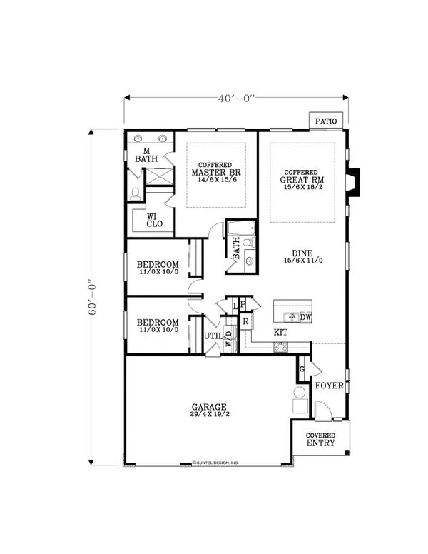 Craftsman Floor Plan - Main Floor Plan #53-655