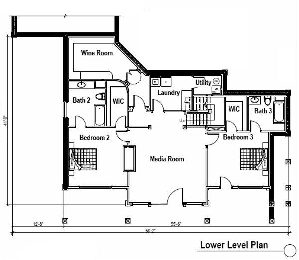 Craftsman Floor Plan - Lower Floor Plan Plan #451-14