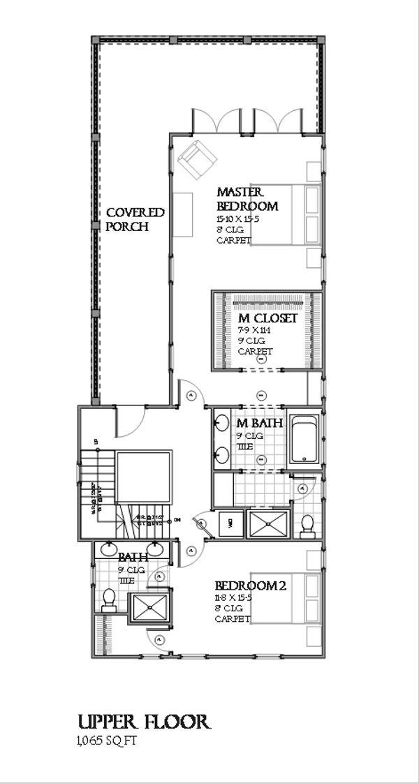 Beach Floor Plan - Upper Floor Plan #901-113