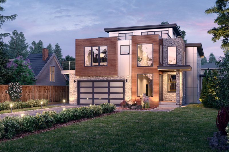 Home Plan - Contemporary Exterior - Front Elevation Plan #1066-113