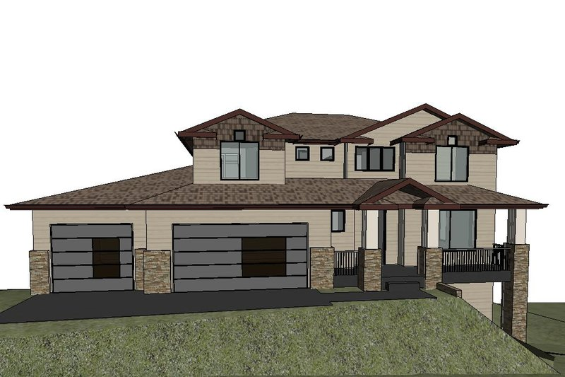 Modern Style House Plan - 4 Beds 2.5 Baths 3109 Sq/Ft Plan #1066-129 Exterior - Front Elevation