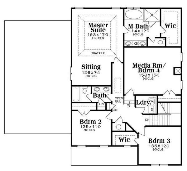 Craftsman Floor Plan - Upper Floor Plan Plan #419-261