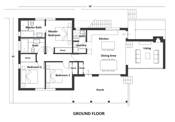 Contemporary Floor Plan - Main Floor Plan Plan #542-20