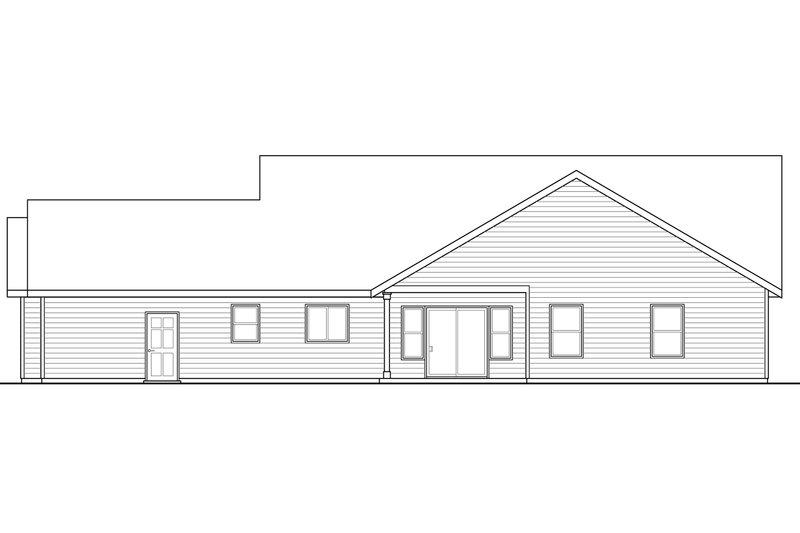 Ranch Exterior - Rear Elevation Plan #124-948 - Houseplans.com