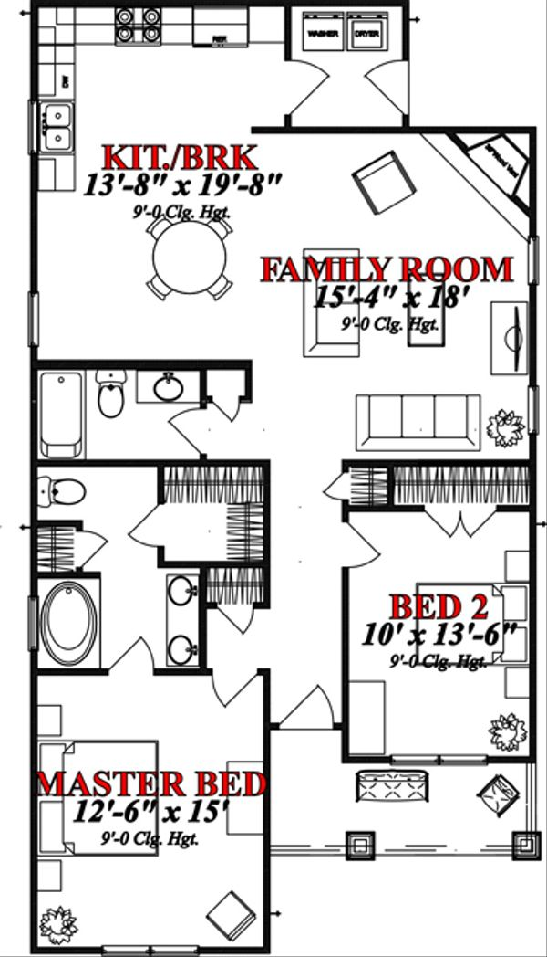 Bungalow Floor Plan - Main Floor Plan Plan #63-296
