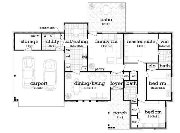 Ranch Floor Plan - Main Floor Plan Plan #45-575