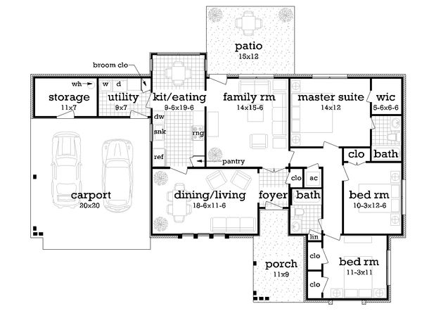Ranch Floor Plan - Main Floor Plan Plan #45-575